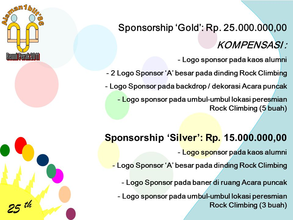 25 th Sponsorship 'Gold': Rp. 25.000.000,00 KOMPENSASI : - Logo sponsor pada kaos alumni - 2 Logo Sponsor 'A' besar pada dinding Rock Climbing - Logo