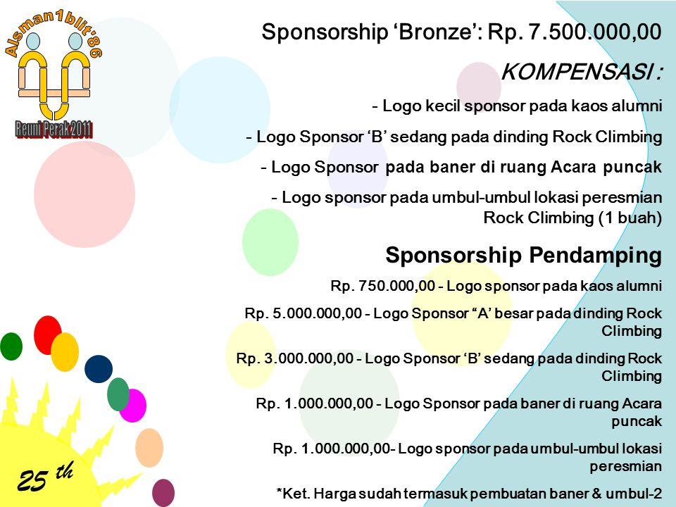 25 th Sponsorship 'Bronze': Rp. 7.500.000,00 KOMPENSASI : - Logo kecil sponsor pada kaos alumni - Logo Sponsor 'B' sedang pada dinding Rock Climbing -