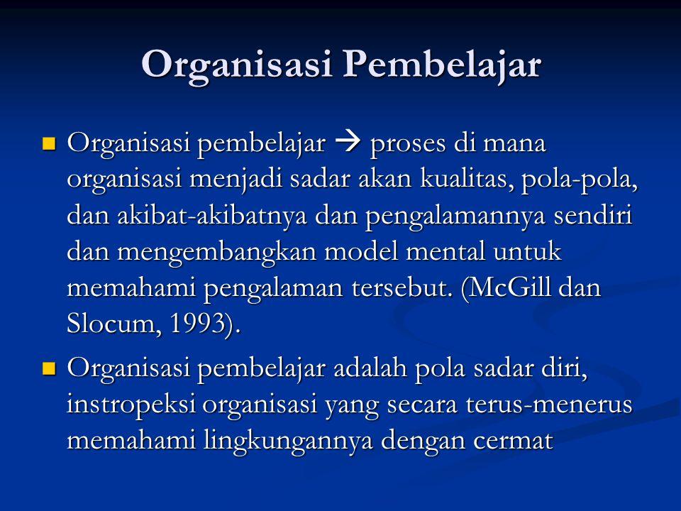 Organisasi pembelajar bercirikan sebagai organisasi yang berdasarkan kesederajatan, informasi terbuka, sedikit hierarkis dan sebuah budaya yang dimiliki bersama yang mendorong kemampuan adaptasi dan membuat organisasi mampu untuk menangkap, meraih kesempatan dan menangani krisis secara cepat.