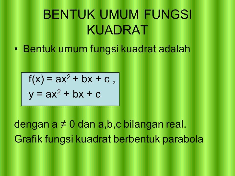 BENTUK UMUM FUNGSI KUADRAT Bentuk umum fungsi kuadrat adalah f(x) = ax 2 + bx + c, y = ax 2 + bx + c dengan a ≠ 0 dan a,b,c bilangan real. Grafik fung