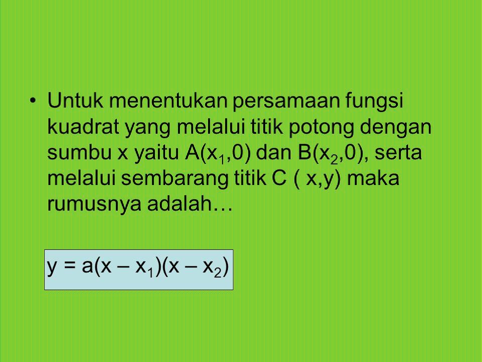 Untuk menentukan persamaan fungsi kuadrat yang melalui titik potong dengan sumbu x yaitu A(x 1,0) dan B(x 2,0), serta melalui sembarang titik C ( x,y)
