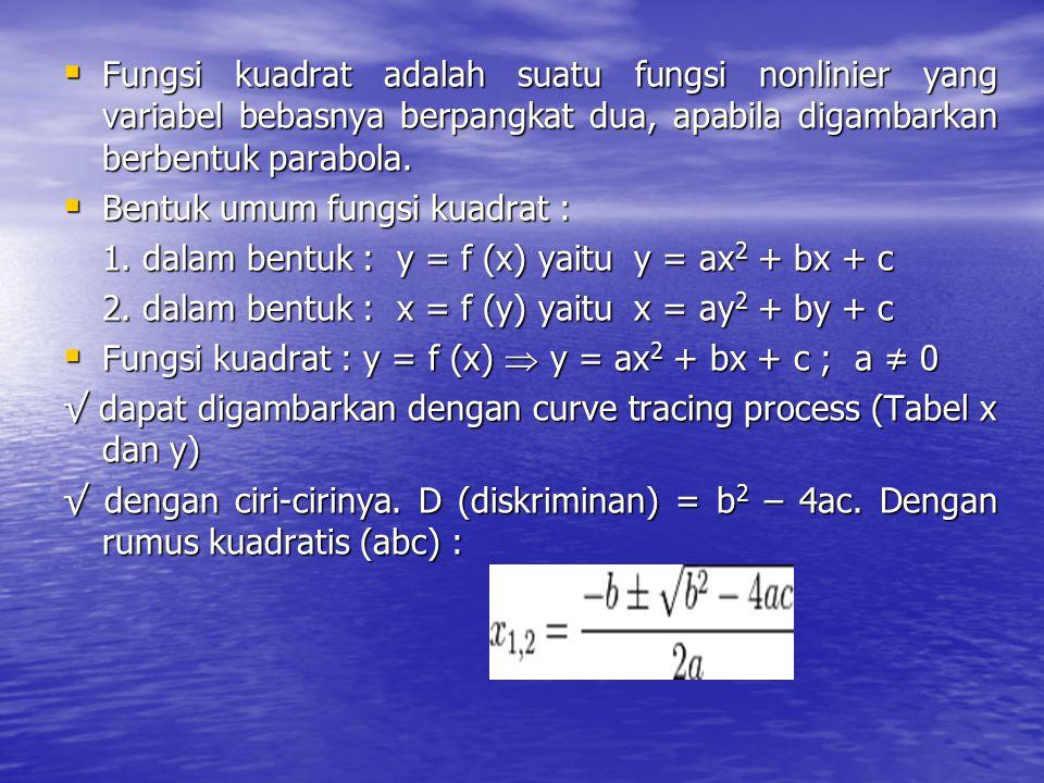 Fungsi kuadrat adalah suatu fungsi nonlinier yang variabel bebasnya berpangkat dua, apabila digambarkan berbentuk parabola.  Bentuk umum fungsi kua