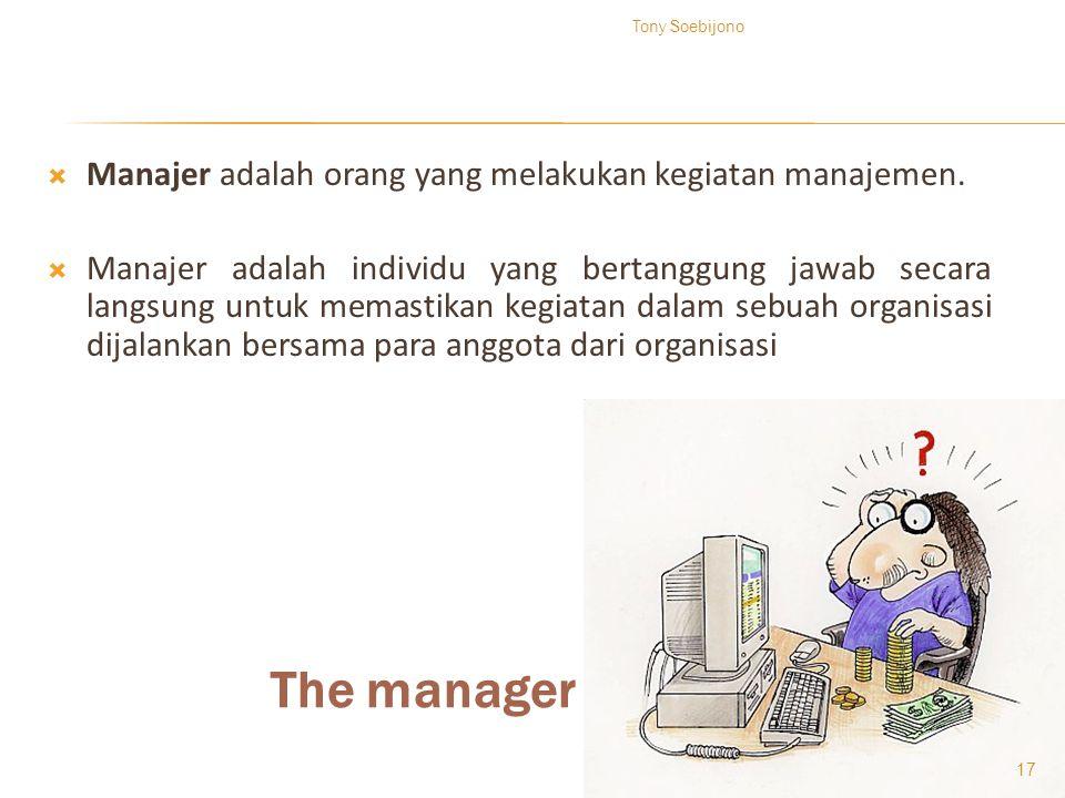 The manager  Manajer adalah orang yang melakukan kegiatan manajemen.  Manajer adalah individu yang bertanggung jawab secara langsung untuk memastika