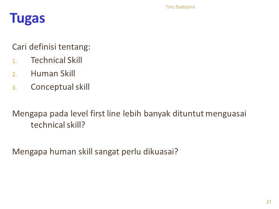 Tugas Cari definisi tentang: 1. Technical Skill 2. Human Skill 3. Conceptual skill Mengapa pada level first line lebih banyak dituntut menguasai techn