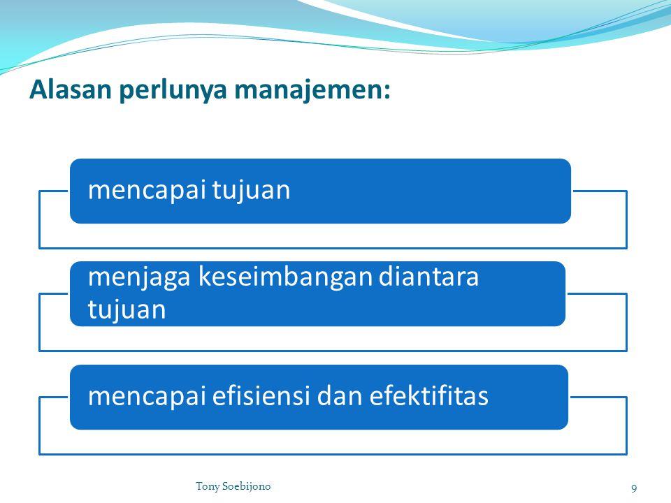Alasan perlunya manajemen: mencapai tujuan menjaga keseimbangan diantara tujuan mencapai efisiensi dan efektifitas 9Tony Soebijono