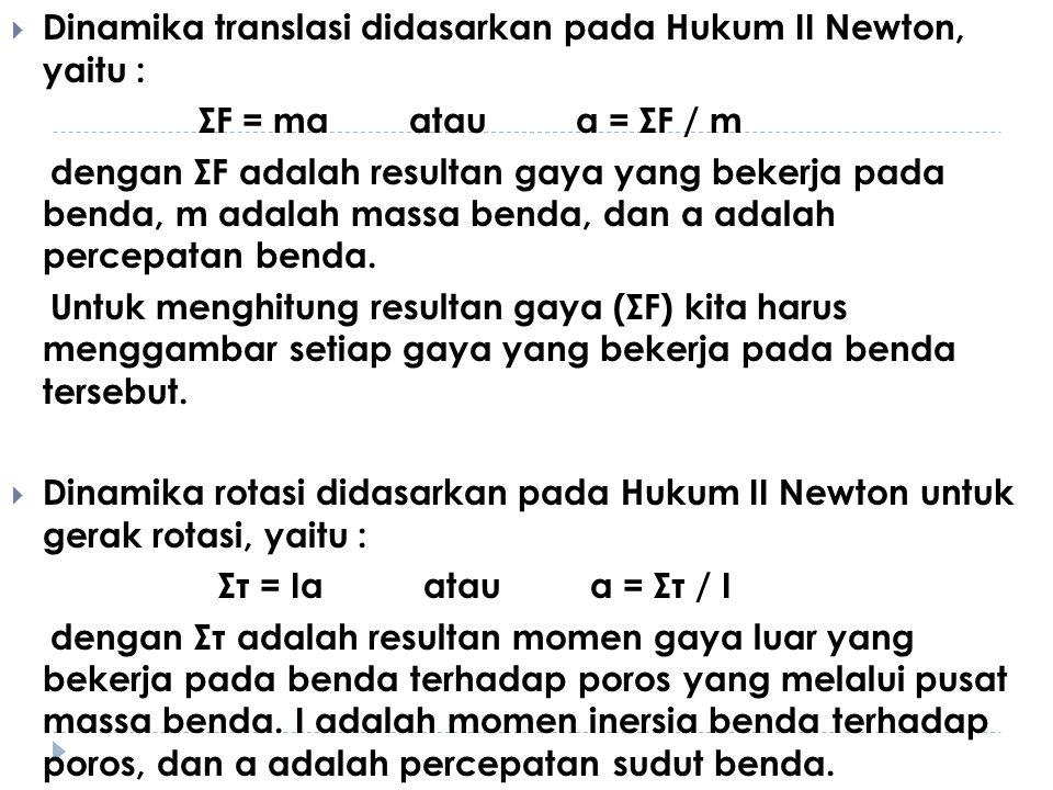  Dinamika translasi didasarkan pada Hukum II Newton, yaitu : ΣF = ma atau a = ΣF / m dengan ΣF adalah resultan gaya yang bekerja pada benda, m adalah