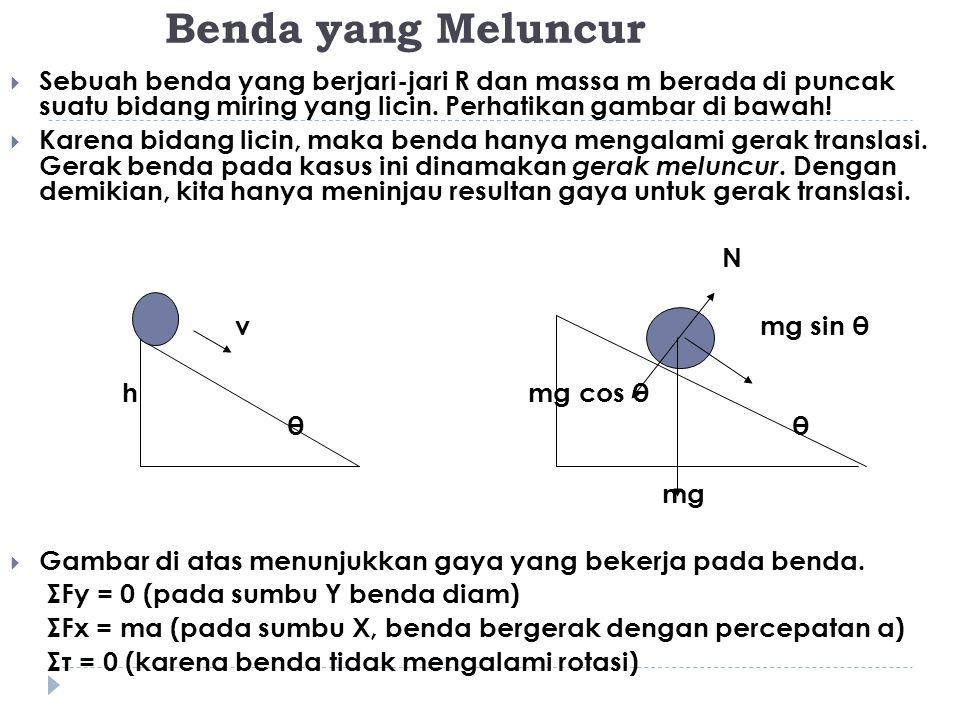 Pada kasus benda meluncur berlaku hukum kekekalan energi mekanik, yaitu : EP puncak + EK puncak = EP dasar + EK dasar dengan : EP = energi potensial benda (EP = mgh) EK = energi kinetik benda (EK = ½ mv2) m = massa benda g = percepatan gravitasi h = ketinggian benda terhadap acuan v = kecepatan linear benda