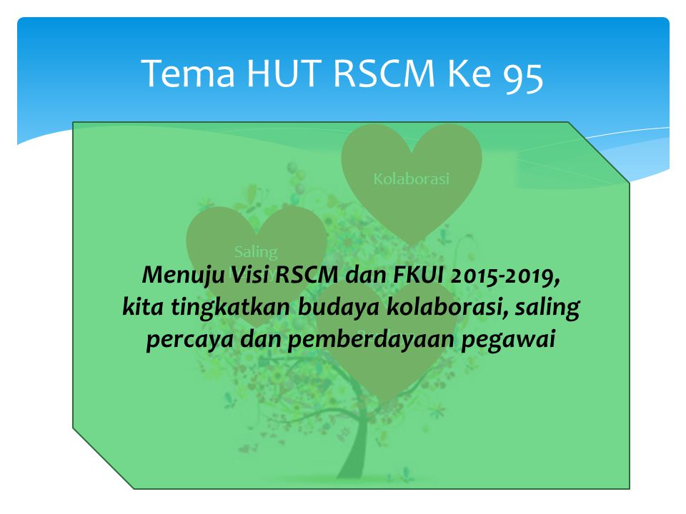 Tema HUT RSCM Ke 95 Kolaborasi Saling Percaya Berdaya Menuju Visi RSCM dan FKUI 2015-2019, kita tingkatkan budaya kolaborasi, saling percaya dan pemberdayaan pegawai