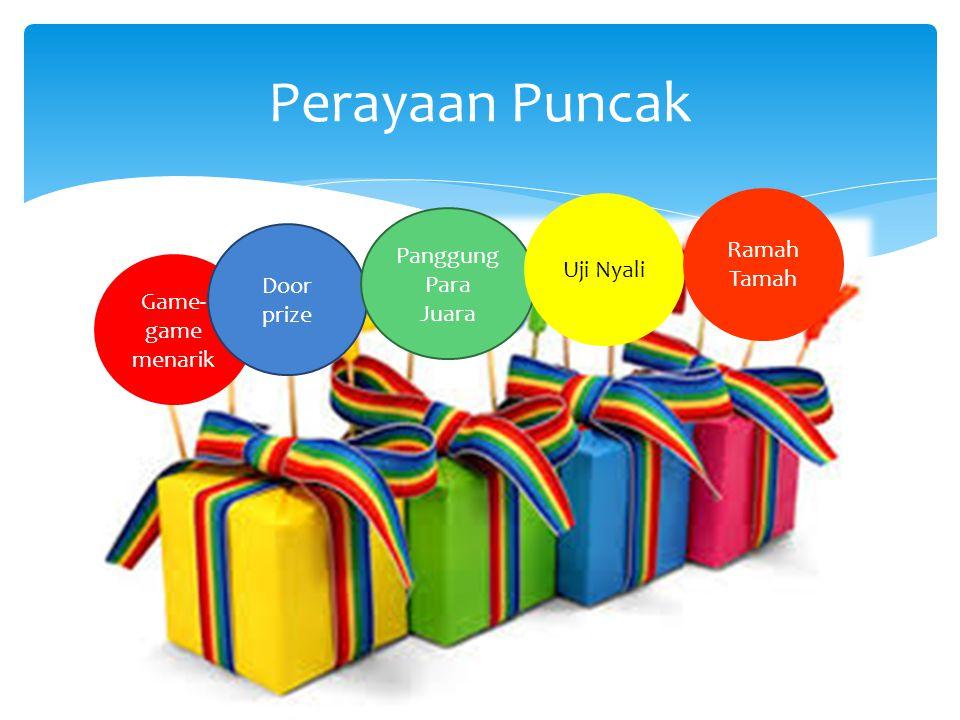 Perayaan Puncak Game- game menarik Door prize Panggung Para Juara Uji Nyali Ramah Tamah