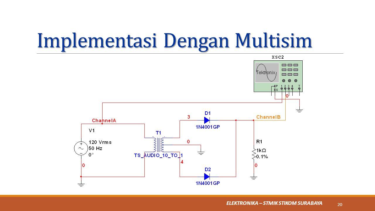 ELEKTRONIKA – STMIK STIKOM SURABAYA Implementasi Dengan Multisim 20