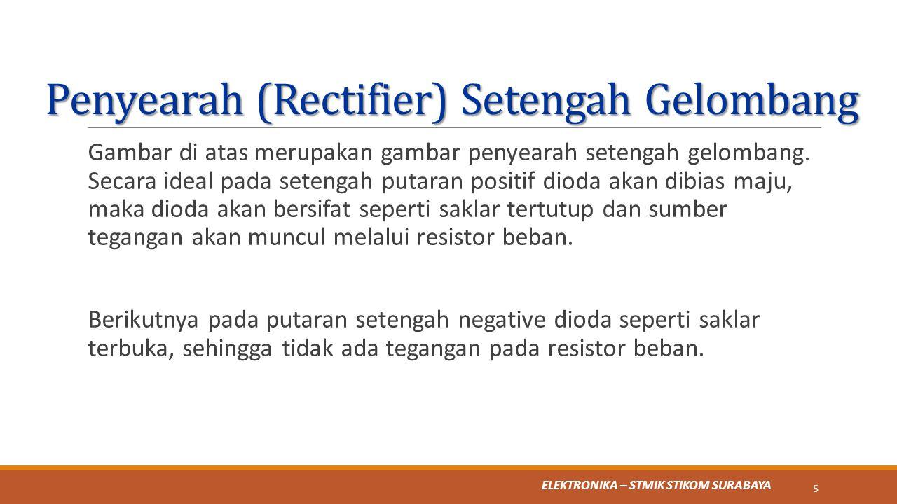 ELEKTRONIKA – STMIK STIKOM SURABAYA Penyearah (Rectifier) Setengah Gelombang 6