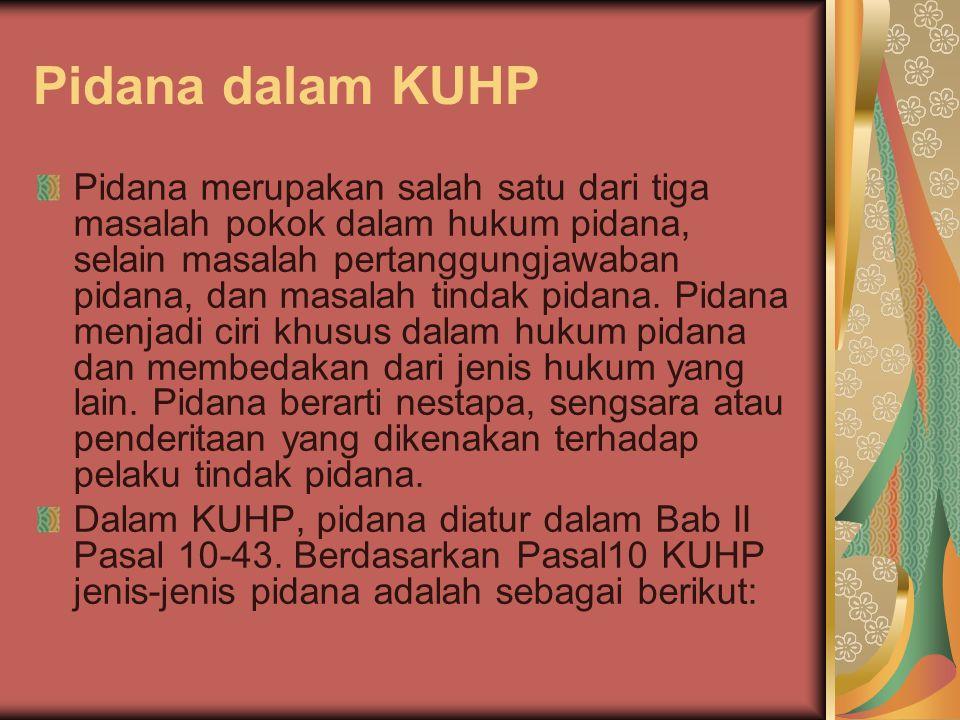 Pidana dalam KUHP Pidana merupakan salah satu dari tiga masalah pokok dalam hukum pidana, selain masalah pertanggungjawaban pidana, dan masalah tindak