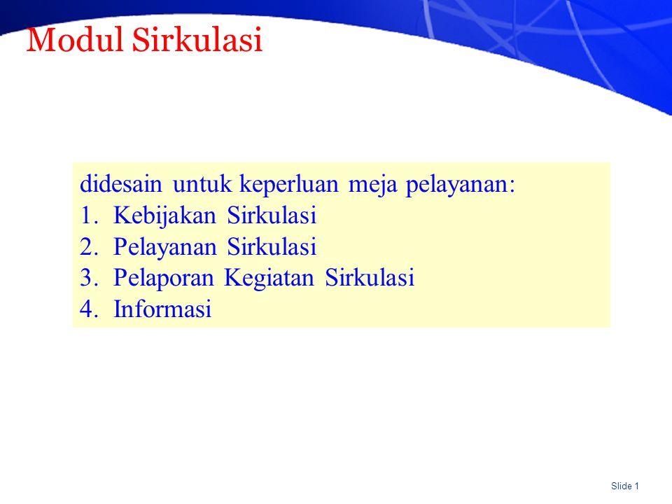 Slide 2 Spesifikasi Modul Sirkulasi (umum) 1.Security system for different levels 2.