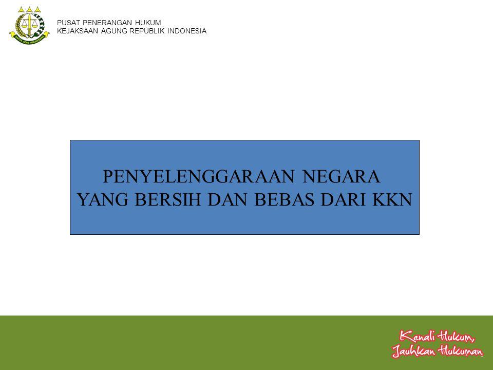 PENYELENGGARAAN NEGARA YANG BERSIH DAN BEBAS DARI KKN PUSAT PENERANGAN HUKUM KEJAKSAAN AGUNG REPUBLIK INDONESIA