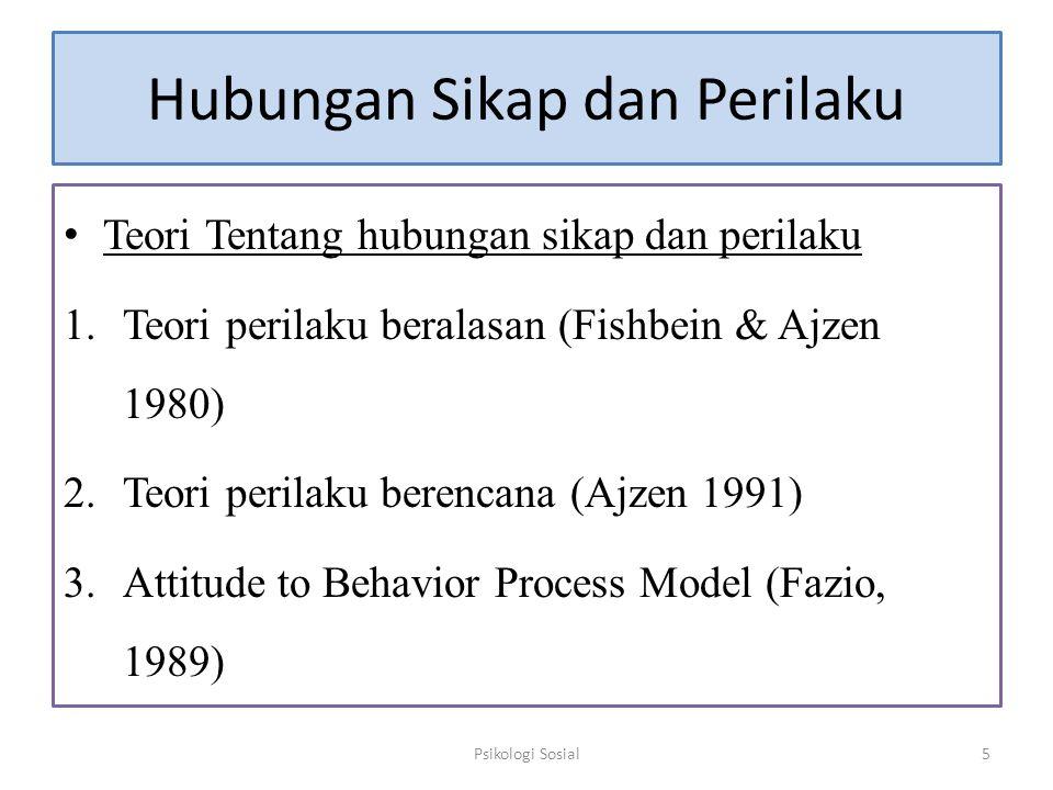 Hubungan Sikap dan Perilaku Teori Tentang hubungan sikap dan perilaku 1.Teori perilaku beralasan (Fishbein & Ajzen 1980) 2.Teori perilaku berencana (A