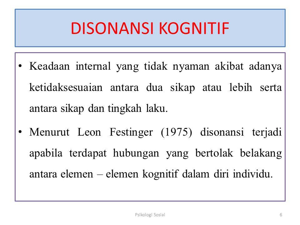 DISONANSI KOGNITIF Keadaan internal yang tidak nyaman akibat adanya ketidaksesuaian antara dua sikap atau lebih serta antara sikap dan tingkah laku. M