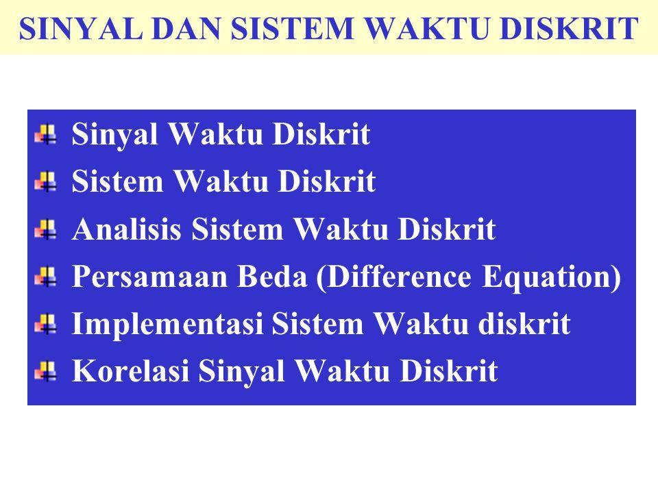 SINYAL DAN SISTEM WAKTU DISKRIT Sinyal Waktu Diskrit Sistem Waktu Diskrit Analisis Sistem Waktu Diskrit Persamaan Beda (Difference Equation) Implementasi Sistem Waktu diskrit Korelasi Sinyal Waktu Diskrit