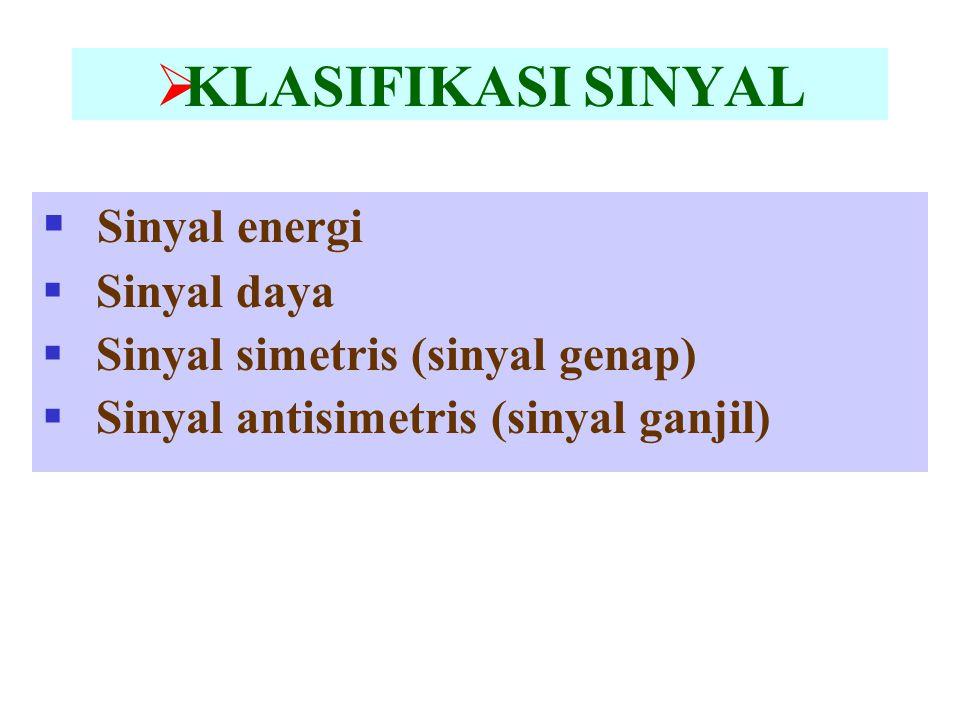  KLASIFIKASI SINYAL  Sinyal energi  Sinyal daya  Sinyal simetris (sinyal genap)  Sinyal antisimetris (sinyal ganjil)