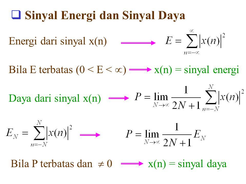  Sinyal Energi dan Sinyal Daya Energi dari sinyal x(n) Bila E terbatas (0 < E <  ) x(n) = sinyal energi Daya dari sinyal x(n) Bila P terbatas dan  0 x(n) = sinyal daya