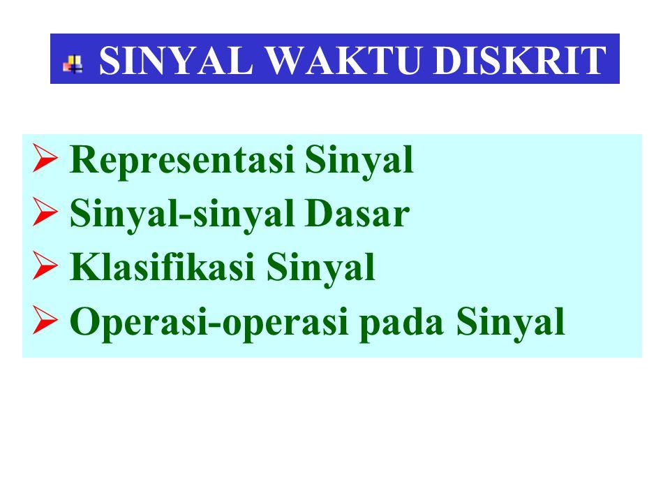 SINYAL WAKTU DISKRIT  Representasi Sinyal  Sinyal-sinyal Dasar  Klasifikasi Sinyal  Operasi-operasi pada Sinyal