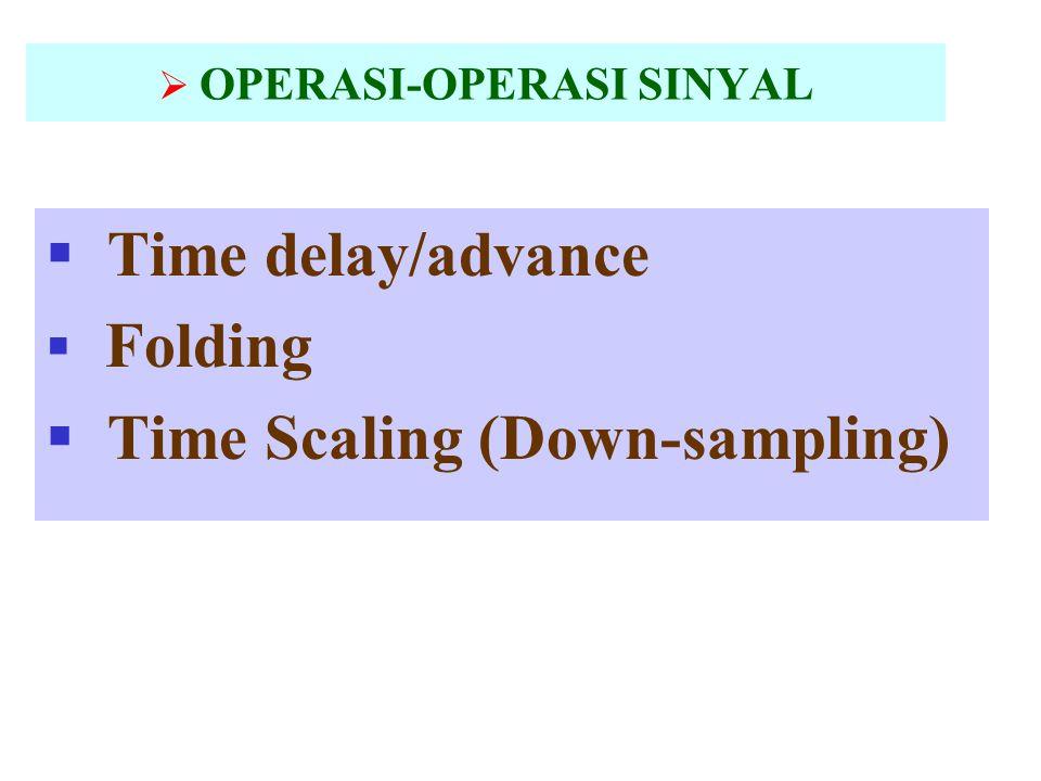  OPERASI-OPERASI SINYAL  Time delay/advance  Folding  Time Scaling (Down-sampling)