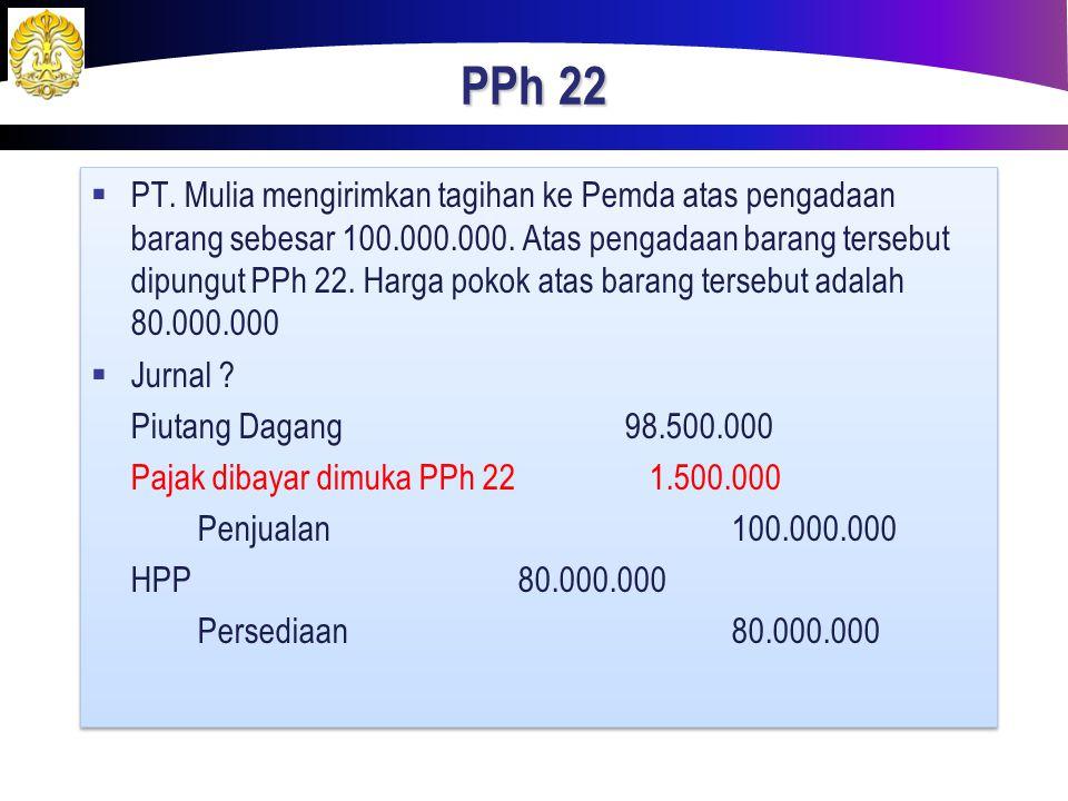 PPh 22  PT. Mulia mengirimkan tagihan ke Pemda atas pengadaan barang sebesar 100.000.000. Atas pengadaan barang tersebut dipungut PPh 22. Harga pokok