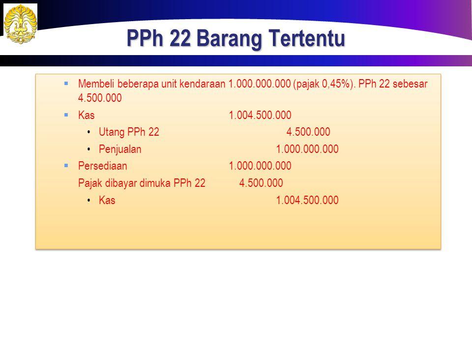 PPh 22 Barang Tertentu  Membeli beberapa unit kendaraan 1.000.000.000 (pajak 0,45%). PPh 22 sebesar 4.500.000  Kas1.004.500.000 Utang PPh 22 4.500.0