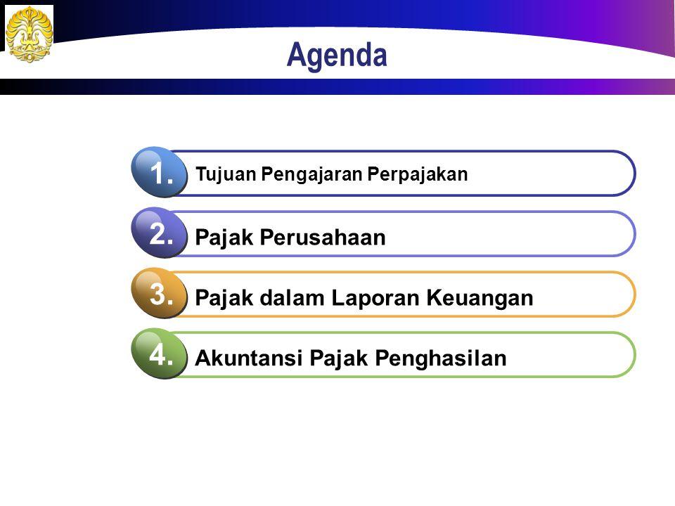 Agenda Tujuan Pengajaran Perpajakan 1. Pajak Perusahaan 2. Pajak dalam Laporan Keuangan 3. Akuntansi Pajak Penghasilan 4.