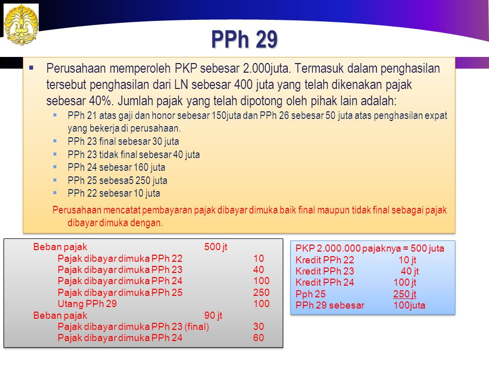 PPh 29  Perusahaan memperoleh PKP sebesar 2.000juta. Termasuk dalam penghasilan tersebut penghasilan dari LN sebesar 400 juta yang telah dikenakan pa
