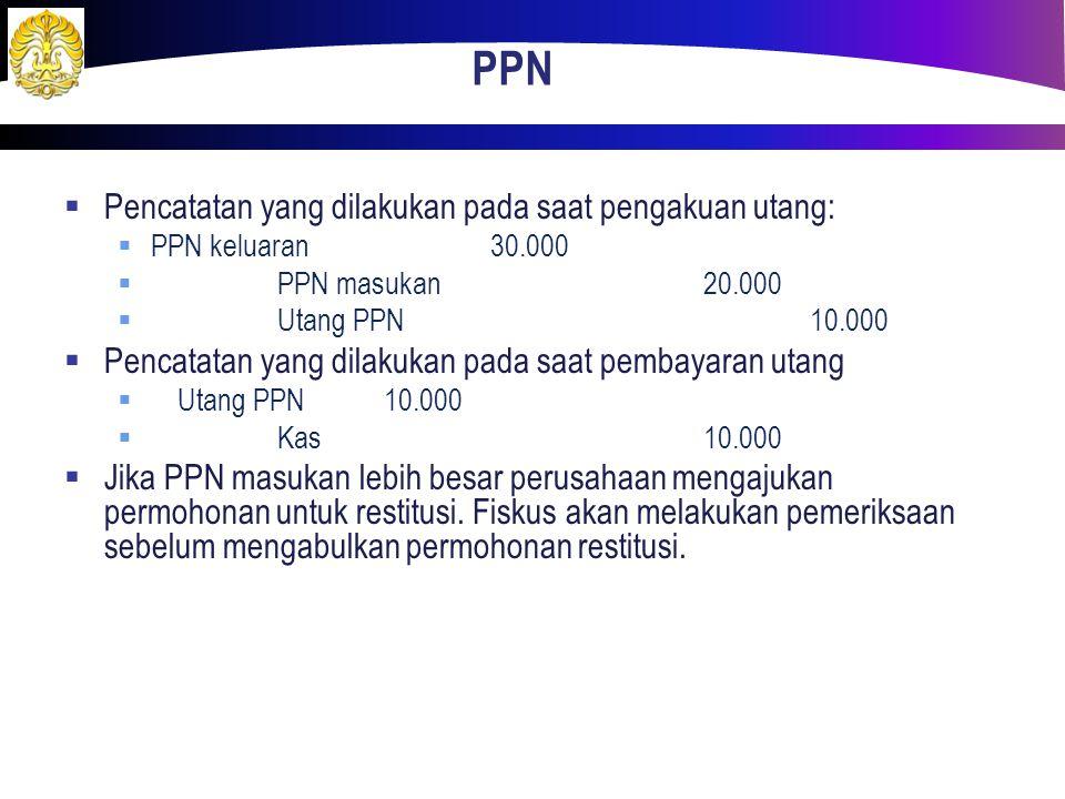 PPN  Pencatatan yang dilakukan pada saat pengakuan utang:  PPN keluaran30.000  PPN masukan20.000  Utang PPN10.000  Pencatatan yang dilakukan pada