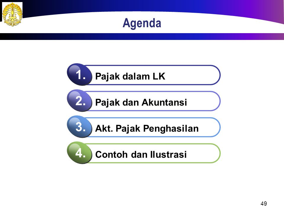 Agenda Pajak dalam LK 1. Pajak dan Akuntansi 2. Akt. Pajak Penghasilan 3. Contoh dan Ilustrasi 4. 49