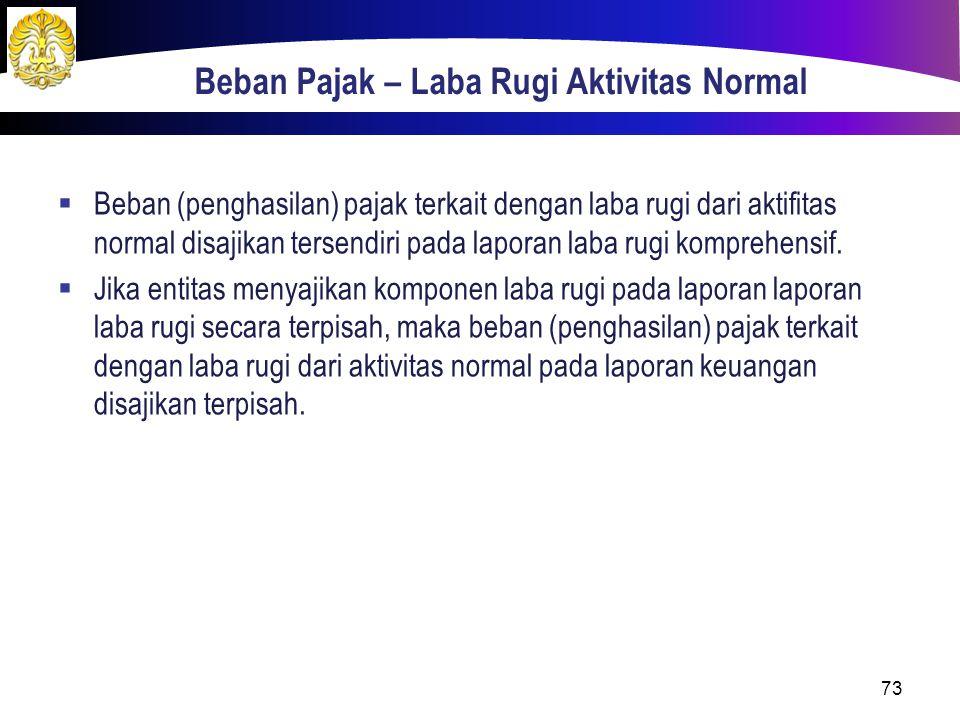 73 Beban Pajak – Laba Rugi Aktivitas Normal  Beban (penghasilan) pajak terkait dengan laba rugi dari aktifitas normal disajikan tersendiri pada lapor