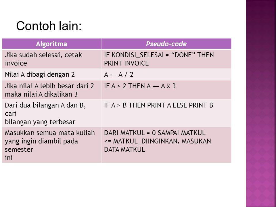 "Contoh lain: AlgoritmaPseudo-code Jika sudah selesai, cetak invoice IF KONDISI_SELESAI = ""DONE"" THEN PRINT INVOICE Nilai A dibagi dengan 2A ← A / 2 Ji"
