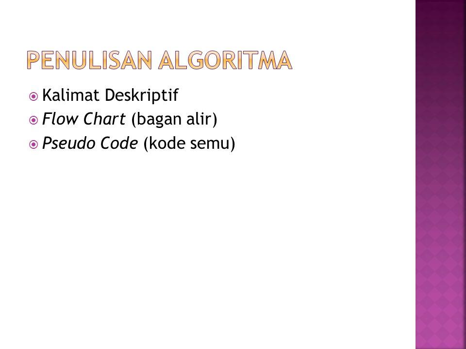  Kalimat Deskriptif  Flow Chart (bagan alir)  Pseudo Code (kode semu)