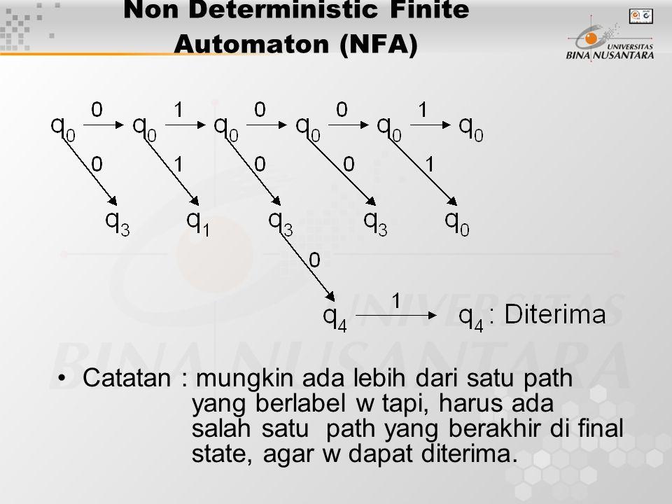 Non Deterministic Finite Automaton (NFA) Catatan : mungkin ada lebih dari satu path yang berlabel w tapi, harus ada salah satu path yang berakhir di final state, agar w dapat diterima.