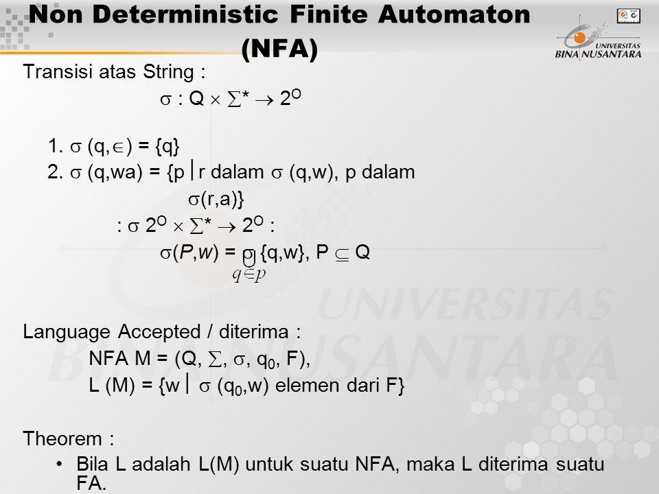 Non Deterministic Finite Automaton (NFA) Transisi atas String :  : Q   *  2 O 1.