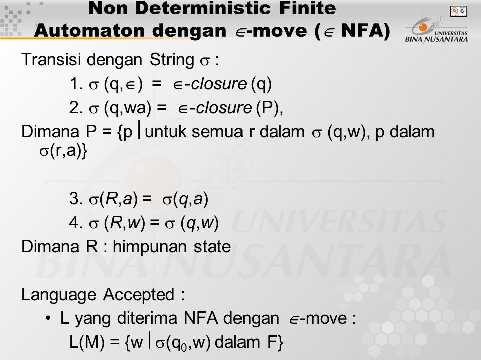 Non Deterministic Finite Automaton dengan  -move (  NFA) Transisi dengan String  : 1.