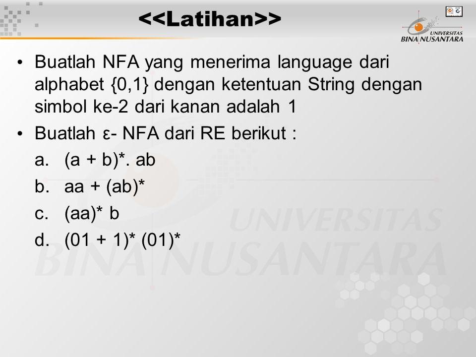 > Buatlah NFA yang menerima language dari alphabet {0,1} dengan ketentuan String dengan simbol ke-2 dari kanan adalah 1 Buatlah ε- NFA dari RE berikut : a.(a + b)*.