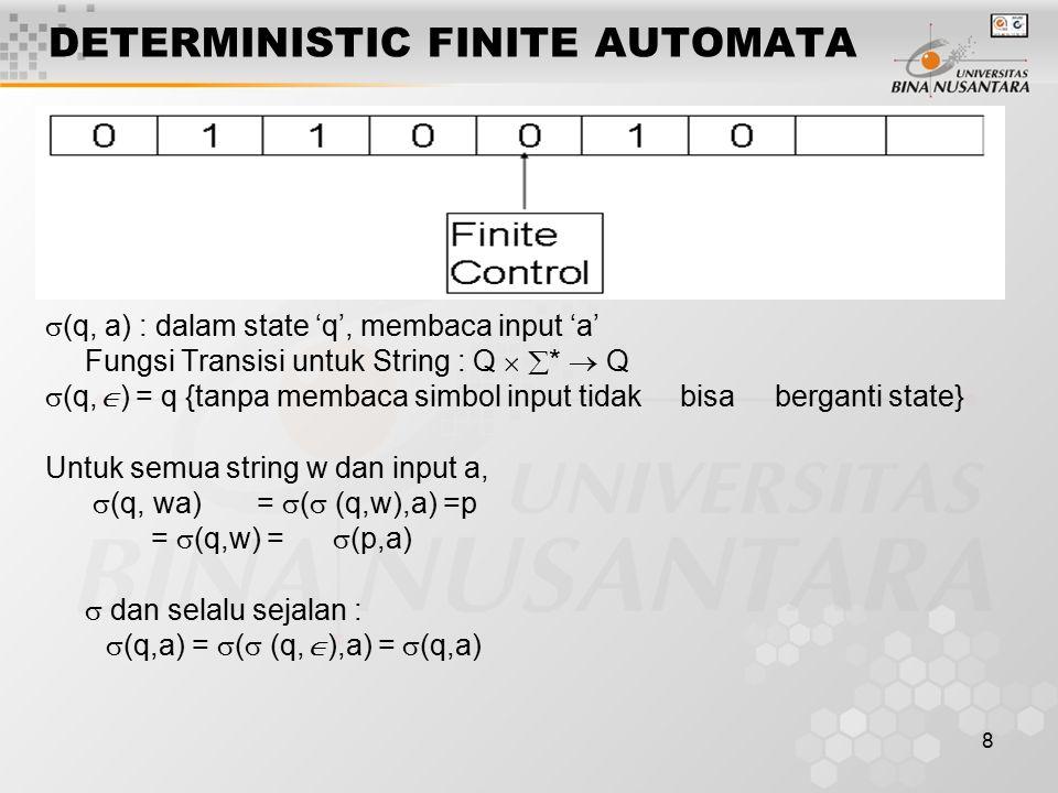 8 DETERMINISTIC FINITE AUTOMATA  (q, a) : dalam state 'q', membaca input 'a' Fungsi Transisi untuk String : Q   *  Q  (q,  ) = q {tanpa membaca simbol input tidak bisa berganti state} Untuk semua string w dan input a,  (q, wa) =  (  (q,w),a) =p =  (q,w) =  (p,a)  dan selalu sejalan :  (q,a) =  (  (q,  ),a) =  (q,a)
