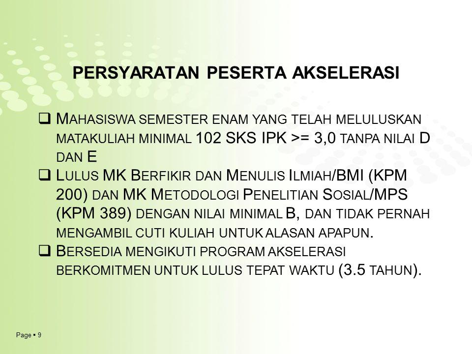 Page  9 PERSYARATAN PESERTA AKSELERASI  M AHASISWA SEMESTER ENAM YANG TELAH MELULUSKAN MATAKULIAH MINIMAL 102 SKS IPK >= 3,0 TANPA NILAI D DAN E  L ULUS MK B ERFIKIR DAN M ENULIS I LMIAH /BMI (KPM 200) DAN MK M ETODOLOGI P ENELITIAN S OSIAL /MPS (KPM 389) DENGAN NILAI MINIMAL B, DAN TIDAK PERNAH MENGAMBIL CUTI KULIAH UNTUK ALASAN APAPUN.