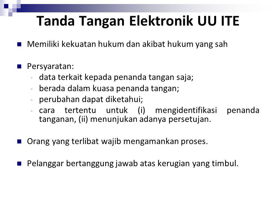Tanda Tangan Elektronik UU ITE Memiliki kekuatan hukum dan akibat hukum yang sah Persyaratan: - data terkait kepada penanda tangan saja; - berada dala