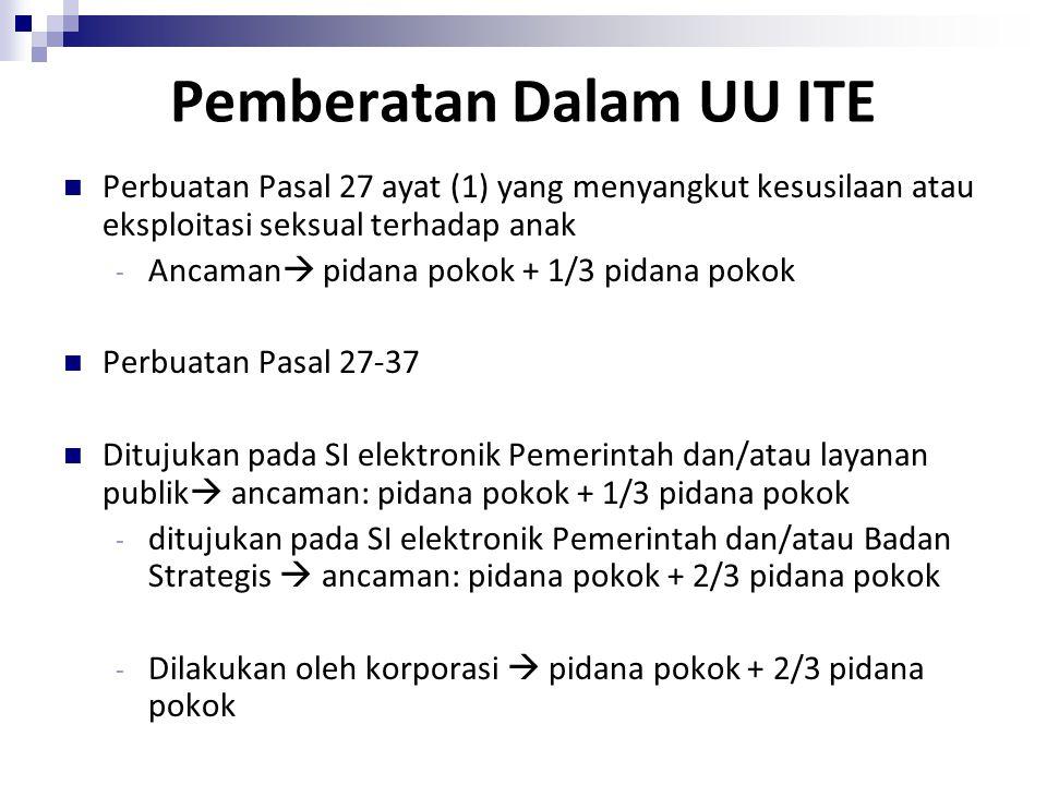 Pemberatan Dalam UU ITE Perbuatan Pasal 27 ayat (1) yang menyangkut kesusilaan atau eksploitasi seksual terhadap anak - Ancaman  pidana pokok + 1/3 p