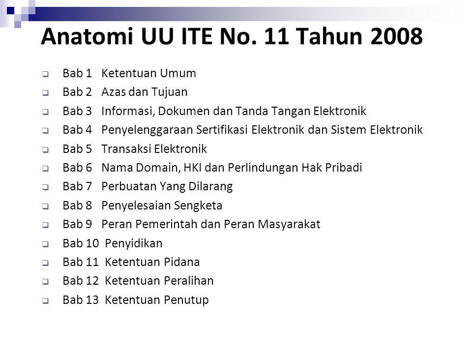 Anatomi UU ITE No. 11 Tahun 2008  Bab 1 Ketentuan Umum  Bab 2 Azas dan Tujuan  Bab 3 Informasi, Dokumen dan Tanda Tangan Elektronik  Bab 4 Penyele