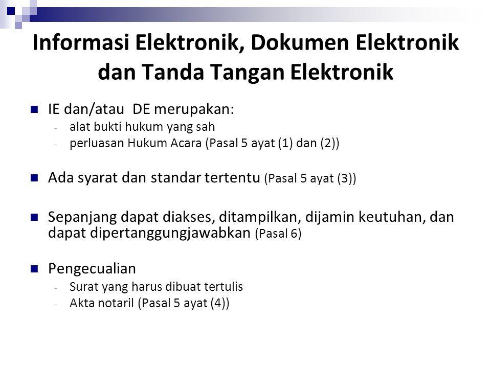 Informasi Elektronik, Dokumen Elektronik dan Tanda Tangan Elektronik IE dan/atau DE merupakan: - alat bukti hukum yang sah - perluasan Hukum Acara (Pa