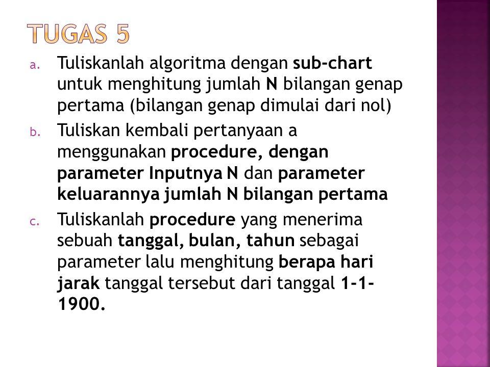 a. Tuliskanlah algoritma dengan sub-chart untuk menghitung jumlah N bilangan genap pertama (bilangan genap dimulai dari nol) b. Tuliskan kembali perta