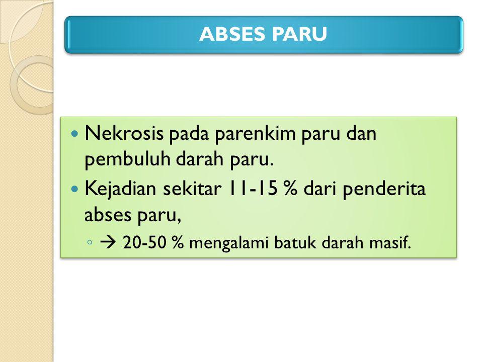 ABSES PARU Nekrosis pada parenkim paru dan pembuluh darah paru. Kejadian sekitar 11-15 % dari penderita abses paru, ◦  20-50 % mengalami batuk darah
