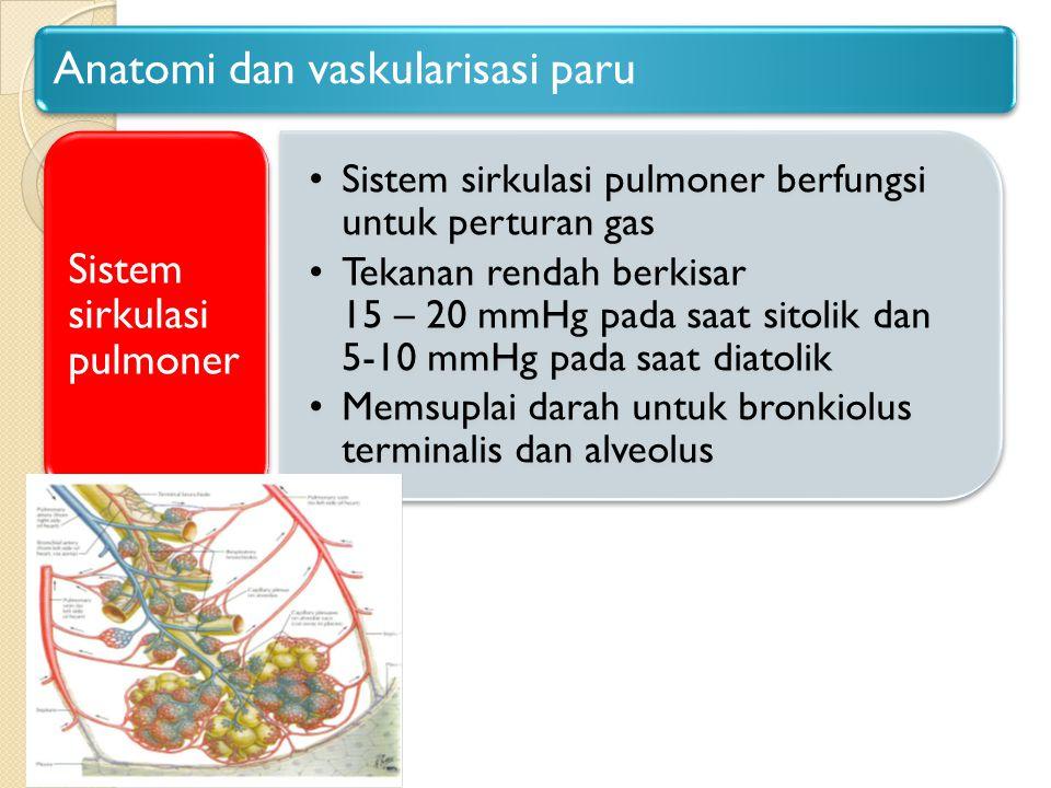 Anatomi dan vaskularisasi paru Sistem sirkulasi pulmoner berfungsi untuk perturan gas Tekanan rendah berkisar 15 – 20 mmHg pada saat sitolik dan 5-10