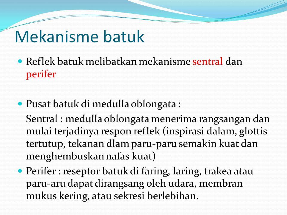 Mekanisme batuk Reflek batuk melibatkan mekanisme sentral dan perifer Pusat batuk di medulla oblongata : Sentral : medulla oblongata menerima rangsang