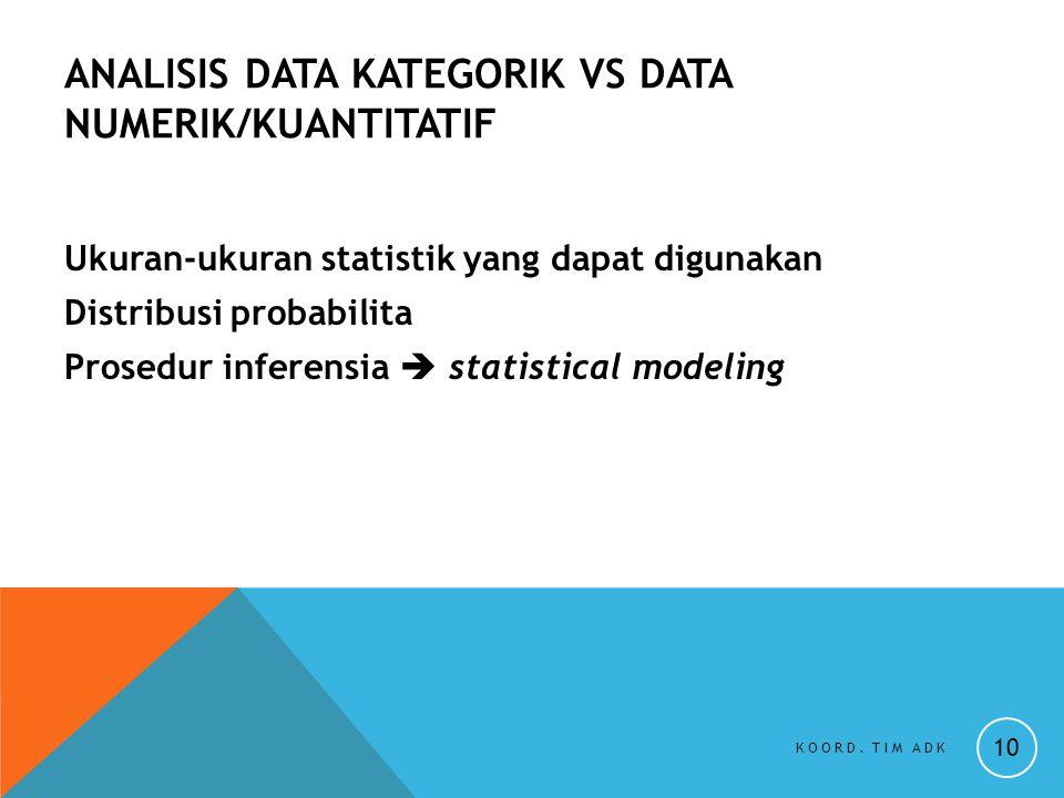 ANALISIS DATA KATEGORIK VS DATA NUMERIK/KUANTITATIF Ukuran-ukuran statistik yang dapat digunakan Distribusi probabilita Prosedur inferensia  statisti