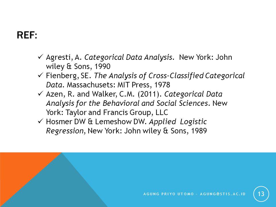 REF: AGUNG PRIYO UTOMO - AGUNG@STIS.AC.ID 13 Agresti, A. Categorical Data Analysis. New York: John wiley & Sons, 1990 Fienberg, SE. The Analysis of Cr